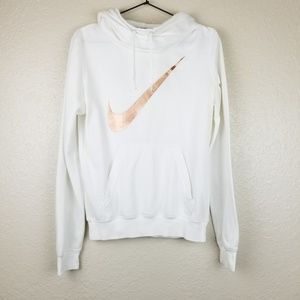 Nike White Funnel Neck Hoodie Rose Gold Swoosh S